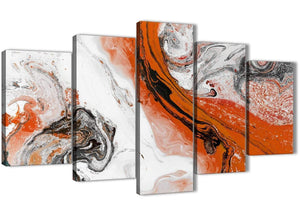 Oversized 5 Panel Orange and Grey Swirl Abstract Office Canvas Pictures Decorations - 5461 - 160cm XL Set Artwork