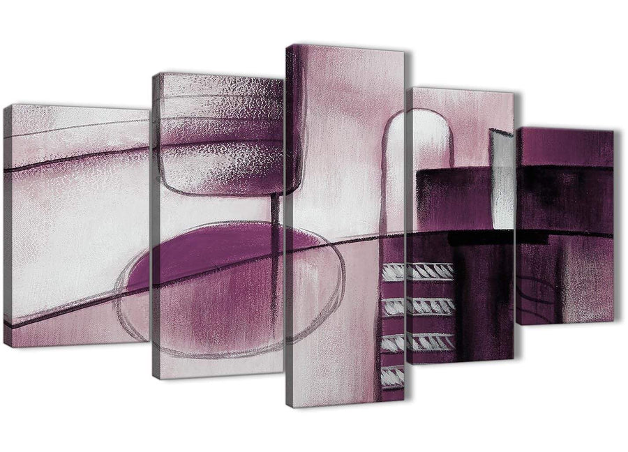 Oversized 5 Panel Plum Grey Painting Abstract Living Room Canvas Wall Art Decor - 5420 - 160cm XL Set Artwork
