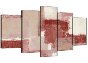 Oversized 5 Piece Red and Cream Abstract Dining Room Canvas Pictures Decorations - 5370 - 160cm XL Set Artwork