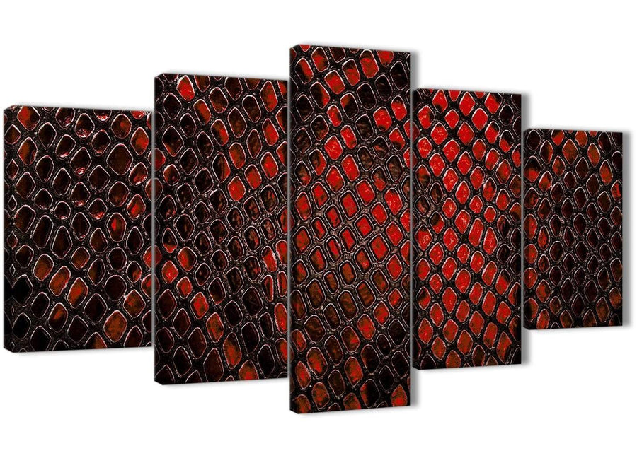 Oversized 5 Panel Red Snakeskin Animal Print Abstract Living Room Canvas Wall Art Decorations - 5476 - 160cm XL Set Artwork