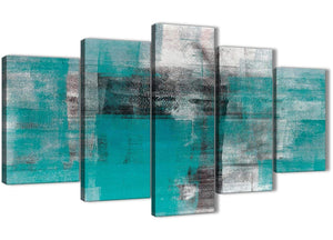 Oversized 5 Piece Teal Black White Painting Abstract Bedroom Canvas Pictures Decor - 5399 - 160cm XL Set Artwork