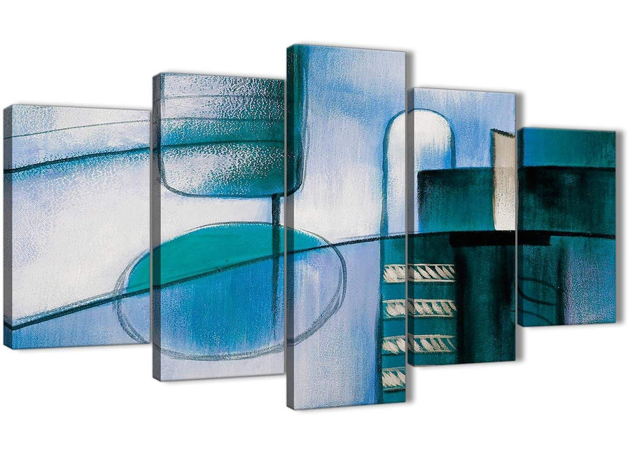 Oversized 5 Piece Teal Cream Painting Abstract Dining Room Canvas Pictures Decor - 5417 - 160cm XL Set Artwork