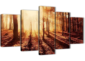 Oversized 5 Panel Trees Canvas Wall Art Prints - Autumn Leaves Forest Scenic Landscapes - 5386 Orange - 160cm XL Set Artwork