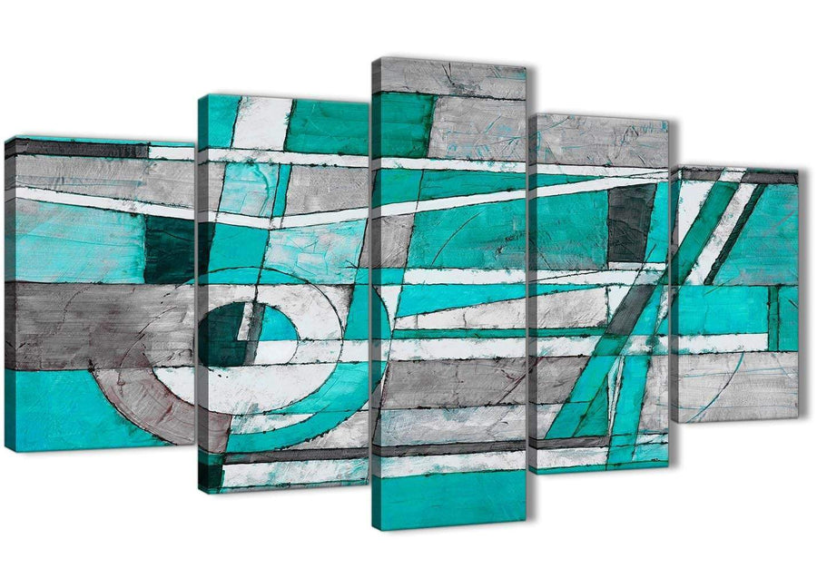 Oversized 5 Piece Turquoise Grey Painting Abstract Living Room Canvas Wall Art Decorations - 5403 - 160cm XL Set Artwork