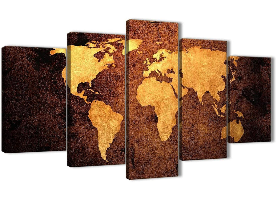 Oversized 5 Piece Vintage Old World Map - Brown Cream Canvas - Abstract Bedroom Canvas Wall Art Decor - 5188 - 160cm XL Set Artwork