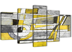 Oversized 5 Panel Yellow Grey Painting Abstract Dining Room Canvas Wall Art Decorations - 5400 - 160cm XL Set Artwork