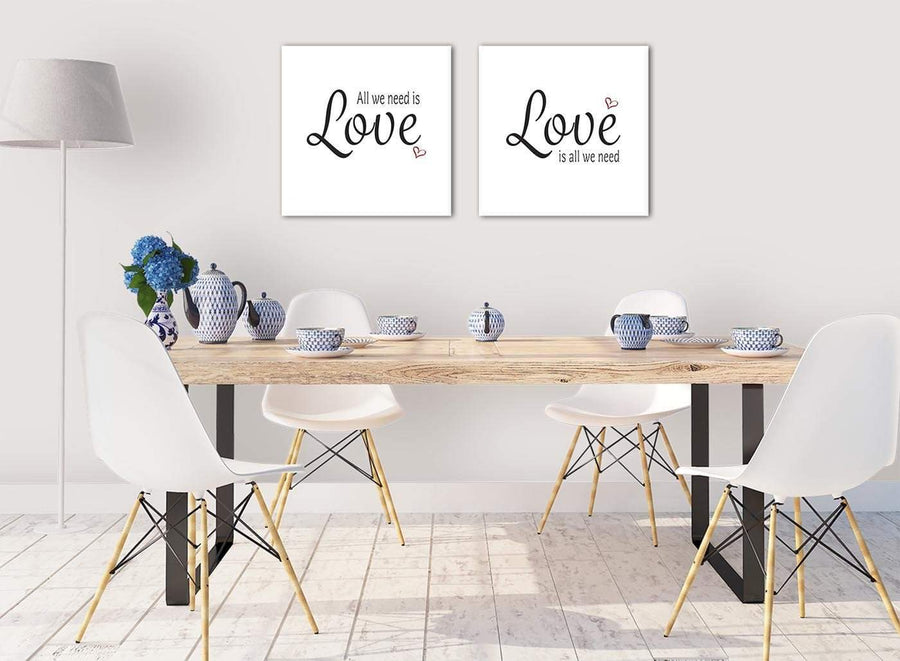 Small Canvas Pair Pictures All we Need is Love Word Art - Word Art - 2s477s - 49cm Square Wall Art
