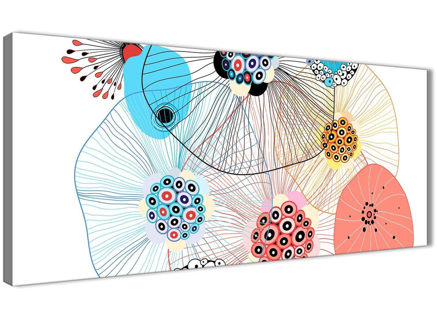 Panoramic Abstract Floral Multi-Colour Flowers Living Room Canvas Wall Art Accessories - Abstract 1485 - 120cm Print