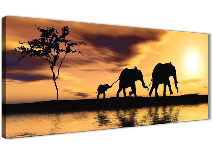Panoramic African Sunset Elephants Canvas Wall Art - Animal - 1479 Mustard Yellow - 120cm Wide Print
