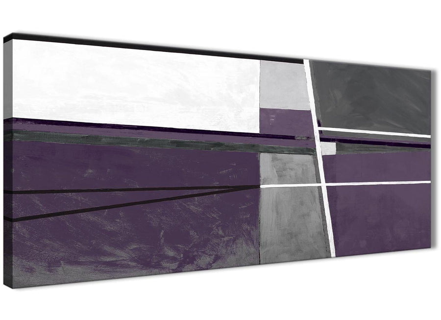 Panoramic Aubergine Grey Painting Living Room Canvas Wall Art Accessories - Abstract 1392 - 120cm Print