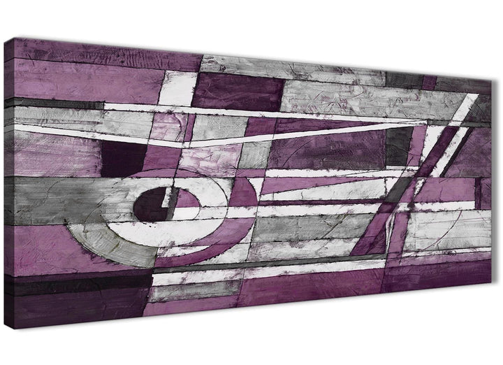 Panoramic Aubergine Grey White Painting Living Room Canvas Pictures Accessories - Abstract 1406 - 120cm Print