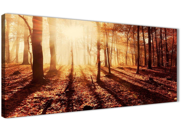 Panoramic Autumn Leaves Forest Scenic Landscapes Canvas Art Pictures - Trees - 1386 Orange - 120cm Wide Print