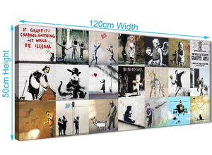 Panoramic Banksy Graffiti Collage Canvas Wall Art Modern 120cm Wide 1356 For Your Boys Bedroom