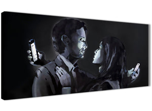 Panoramic Banksy Mobile Lovers Graffiti Canvas Wall Art - 1212 Black White Grey - 120cm Wide Print