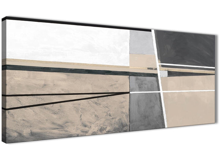 Panoramic Beige Cream Grey Painting Living Room Canvas Pictures Accessories - Abstract 1394 - 120cm Print