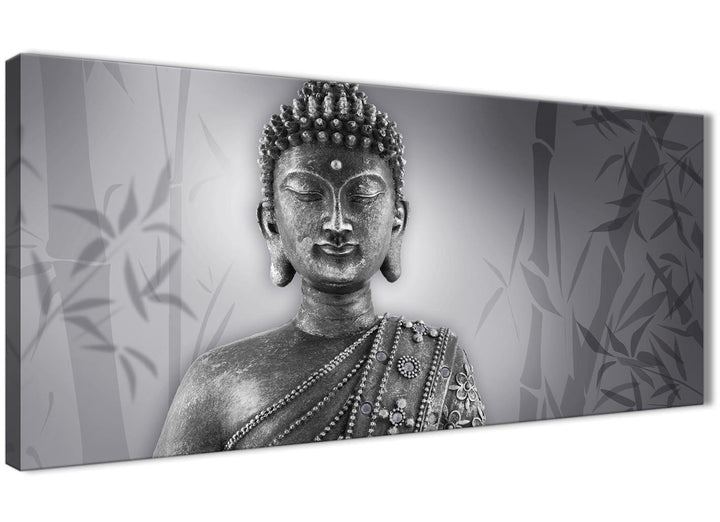 Panoramic Black White Buddha Bedroom Canvas Wall Art Accessories - 1373 - 120cm Print