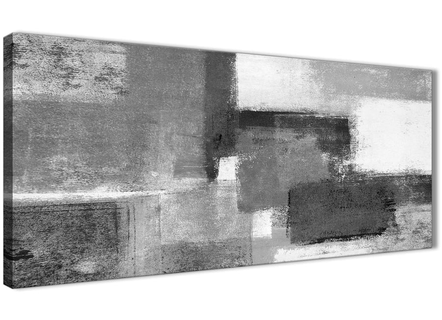 Panoramic Black White Grey Bedroom Canvas Wall Art Accessories - Abstract 1368 - 120cm Print