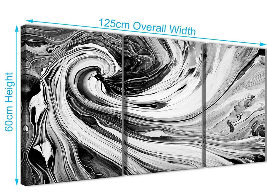 Panoramic Black White Grey Swirls Modern Abstract Canvas Wall Art Split 3 Part 125cm Wide 3354 For Your Dining Room