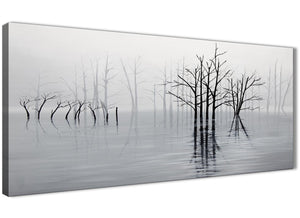 Panoramic Black White Grey Tree Landscape Painting Living Room Canvas Wall Art Accessories - 1416 - 120cm Print