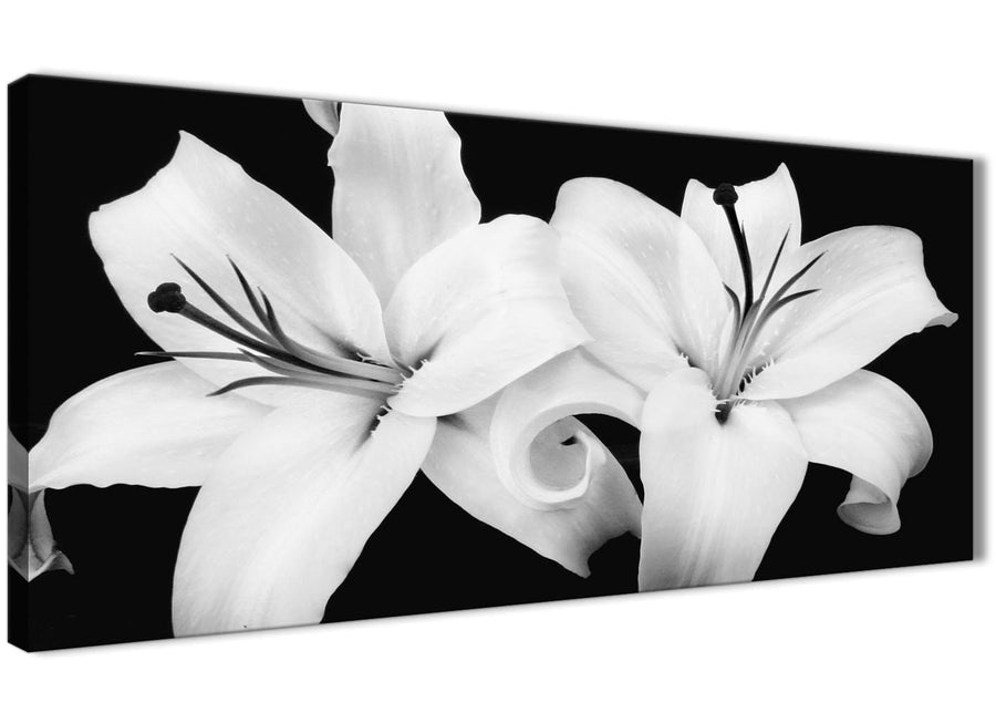 Panoramic Black White Lily Flower Living Room Canvas Wall Art Accessories - 1458 - 120cm Print
