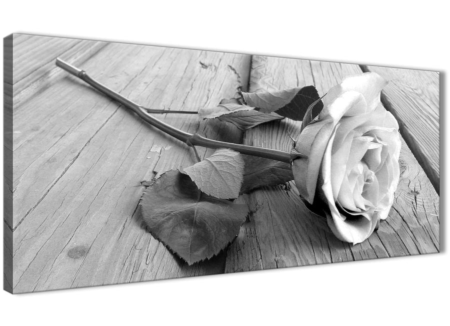 Panoramic Black White Rose Floral Bedroom Canvas Pictures Accessories - 1372 - 120cm Print