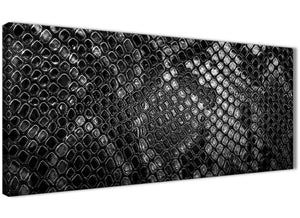Panoramic Black White Snakeskin Animal Print Living Room Canvas Pictures Accessories - Abstract 1510 - 120cm Print