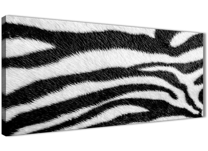 Panoramic Black White Zebra Animal Print Bedroom Canvas Wall Art Accessories - Abstract 1471 - 120cm Print