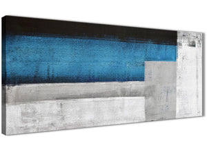 Panoramic Blue Grey Painting Living Room Canvas Wall Art Accessories - Abstract 1423 - 120cm Print