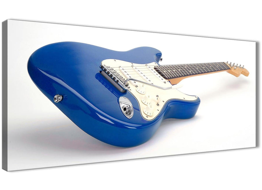 Panoramic Blue White Fender Electric Guitar - Bedroom Canvas Wall Art Accessories - 1447 - 120cm Print