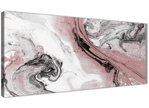Panoramic Blush Pink and Grey Swirl Living Room Canvas Wall Art Accessories - Abstract 1463 - 120cm Print