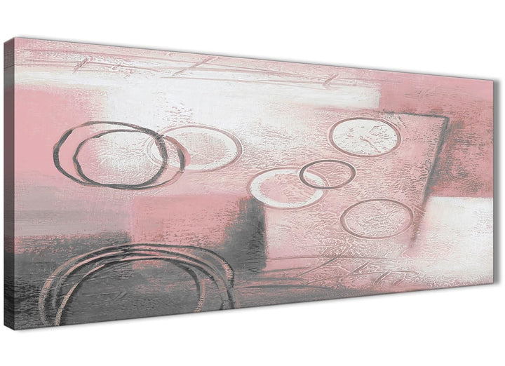 Panoramic Blush Pink Grey Painting Living Room Canvas Pictures Accessories - Abstract 1433 - 120cm Print