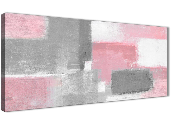 Panoramic Blush Pink Grey Painting Living Room Canvas Wall Art Accessories - Abstract 1378 - 120cm Print