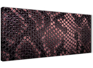 Panoramic Blush Pink Snakeskin Animal Print Living Room Canvas Wall Art Accessories - Abstract 1473 - 120cm Print