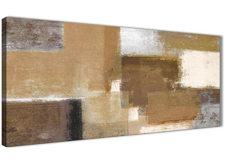 Panoramic Brown Cream Beige Painting Living Room Canvas Pictures Accessories - Abstract 1387 - 120cm Print
