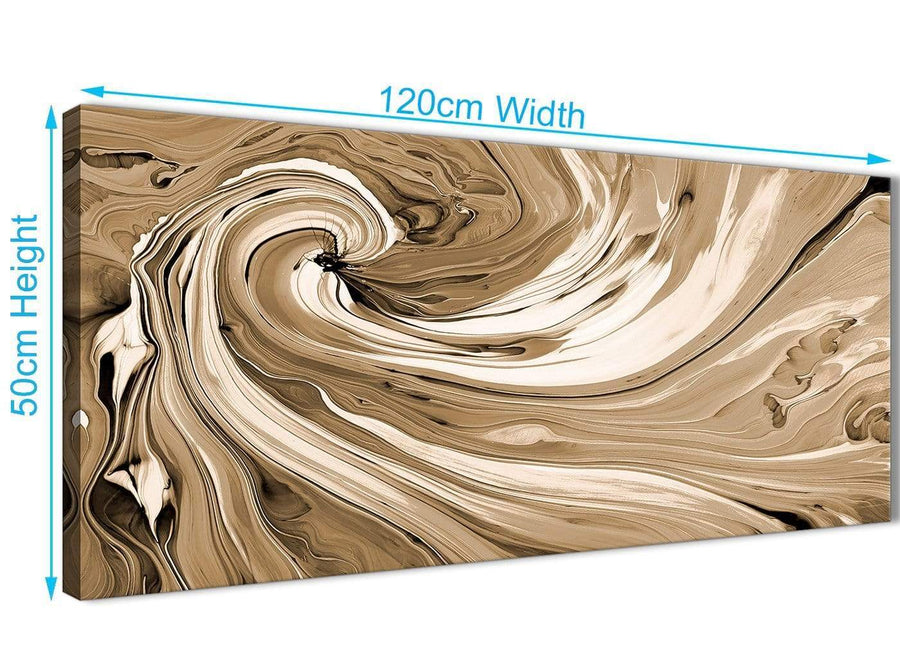 Panoramic Brown Cream Swirls Modern Abstract Canvas Wall Art Modern 120cm Wide 1349 For Your Living Room