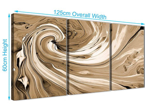 Panoramic Brown Cream Swirls Modern Abstract Canvas Wall Art Split 3 Panel 125cm Wide 3349 For Your Dining Room