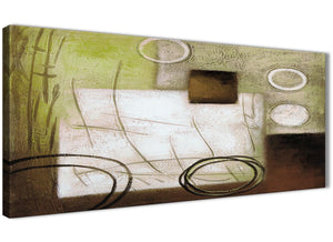 Panoramic Brown Green Painting Bedroom Canvas Pictures Accessories - Abstract 1421 - 120cm Print