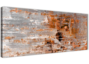 Panoramic Burnt Orange Grey Painting Living Room Canvas Wall Art Accessories - Abstract 1415 - 120cm Print