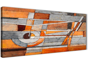 Panoramic Burnt Orange Grey Painting Living Room Canvas Pictures Accessories - Abstract 1405 - 120cm Print