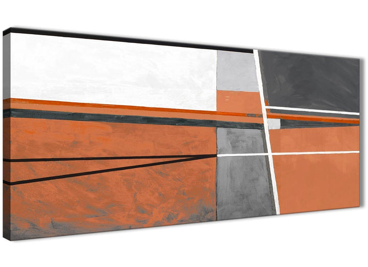 Panoramic Burnt Orange Grey Painting Living Room Canvas Wall Art Accessories - Abstract 1390 - 120cm Print