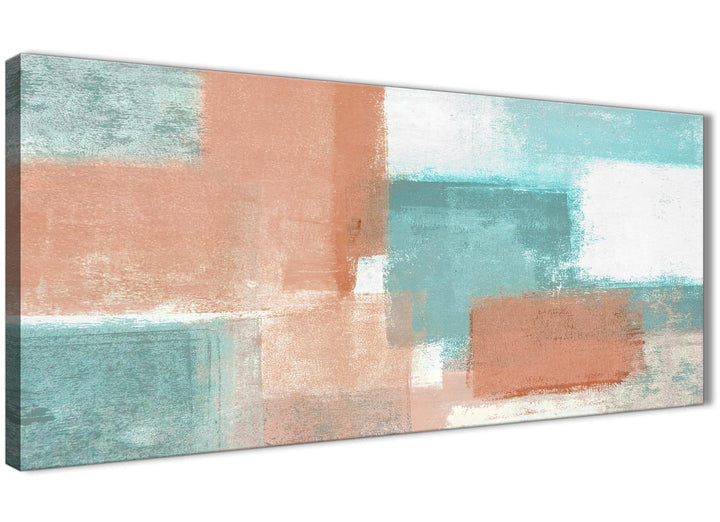 Panoramic Coral Turquoise Living Room Canvas Wall Art Accessories - Abstract 1366 - 120cm Print