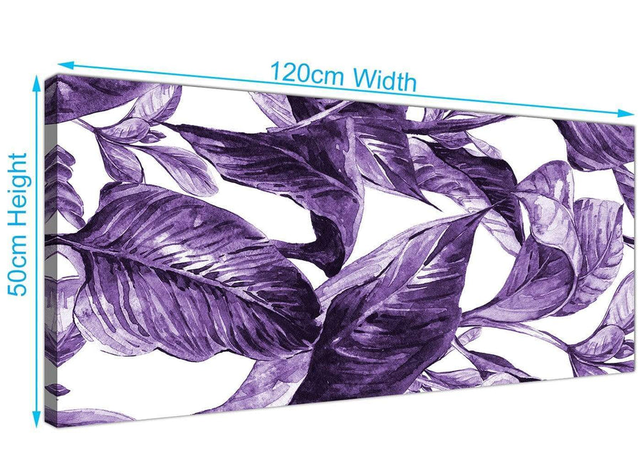 Panoramic Dark Purple White Tropical Exotic Leaves Canvas Modern 120cm Wide 1322 For Your Bedroom