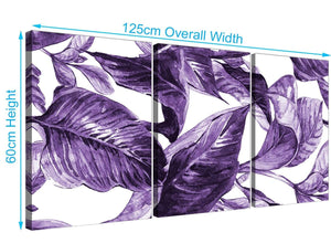 Panoramic Dark Purple White Tropical Exotic Leaves Canvas Split 3 Part 3322 For Your Bedroom