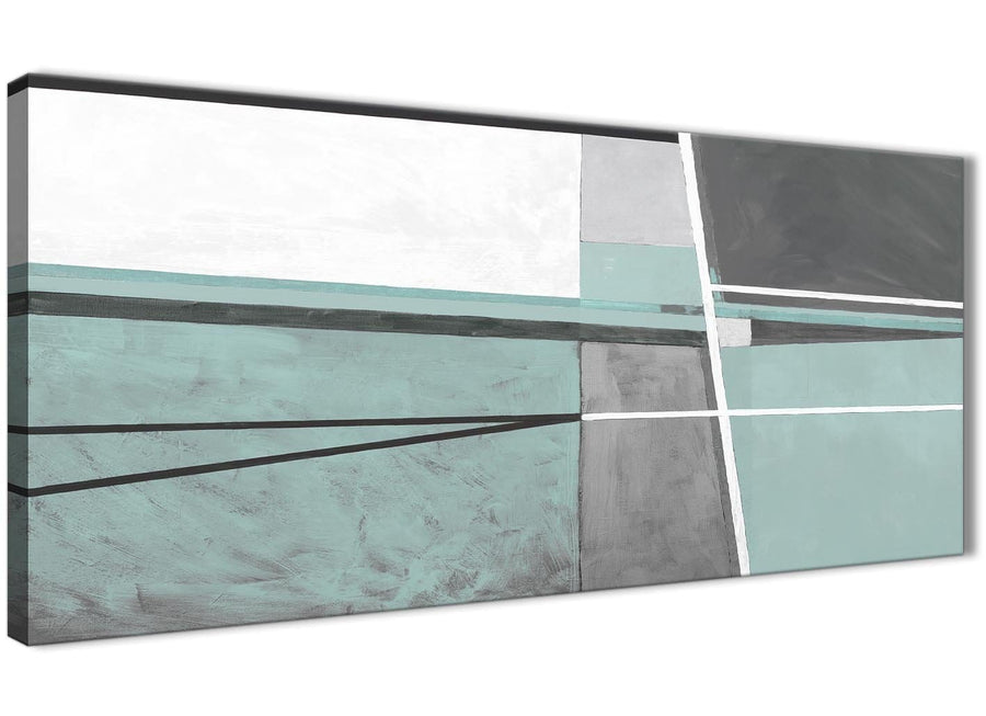 Panoramic Duck Egg Blue Grey Painting Bedroom Canvas Pictures Accessories - Abstract 1396 - 120cm Print