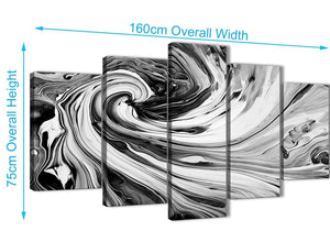 Panoramic Extra Large Black White Grey Swirls Modern Abstract Canvas Wall Art Split 5 Piece 160cm Wide 5354 For Your Living Room