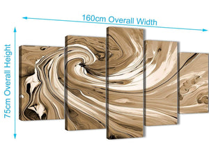 Panoramic Extra Large Brown Cream Swirls Modern Abstract Canvas Wall Art Split 5 Panel 160cm Wide 5349 For Your Kitchen
