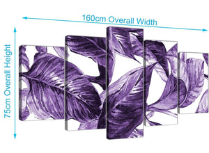 Panoramic Extra Large Dark Purple White Tropical Exotic Leaves Canvas Split 5 Set 5322 For Your Living Room