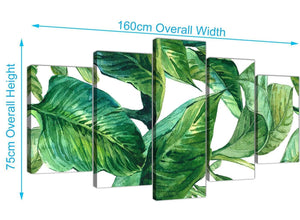 Panoramic Extra Large Green Palm Tropical Banana Leaves Canvas Split 5 Panel 5324 For Your Dining Room