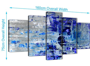 Panoramic Extra Large Indigo Blue Grey Abstract Painting Wall Art Print Canvas Split 5 Set 160cm Wide 5358 For Your Living Room