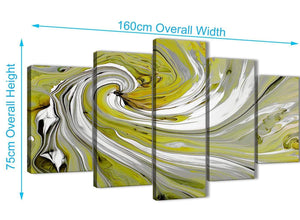 Panoramic Extra Large Lime Green Swirls Modern Abstract Canvas Wall Art Multi 5 Panel 160cm Wide 5351 For Your Kitchen